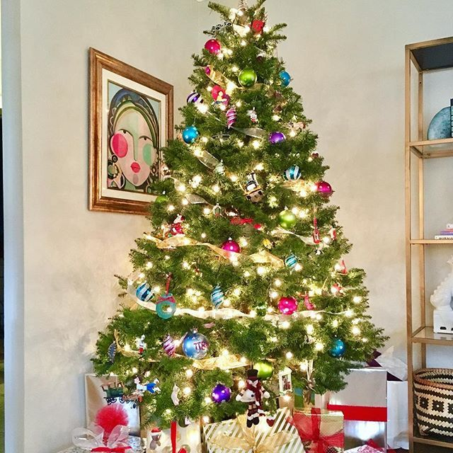 Oh Christmas Tree🎄😊 I love going back to my hometown for the holidays, but I hate to leave our pretty Noble Fir! Merry Christmas Eve❤️  .  .  .  .  .  .  .  .  .  #merrychristmas #christmas #tree #christmaseve #christmastree #color #colorful #design #homedesign #decor #homedecor #home #naturallight #interiordesign #interiors #designer #art #hgtv #modern #transitional #chic #style #homestyle #designinspiration #DIY #inspo #bargainhunting #ikea #artist