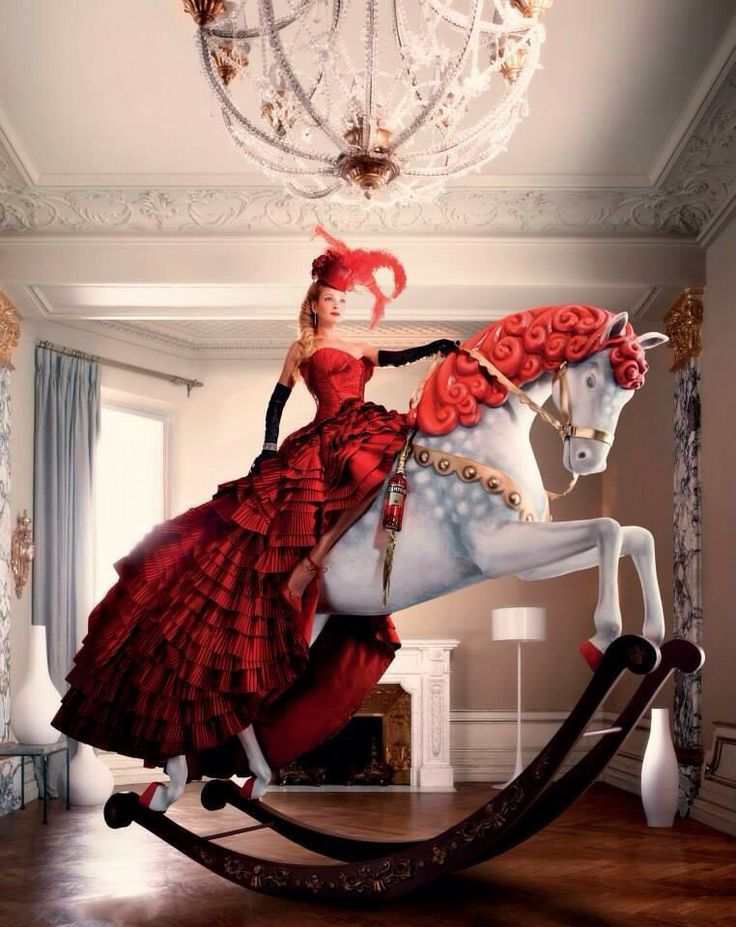 Amazing red ruffling dress with headpiece and gloves.