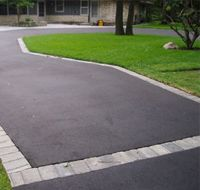 Asphalt has a much nicer finished edge with the paving stone