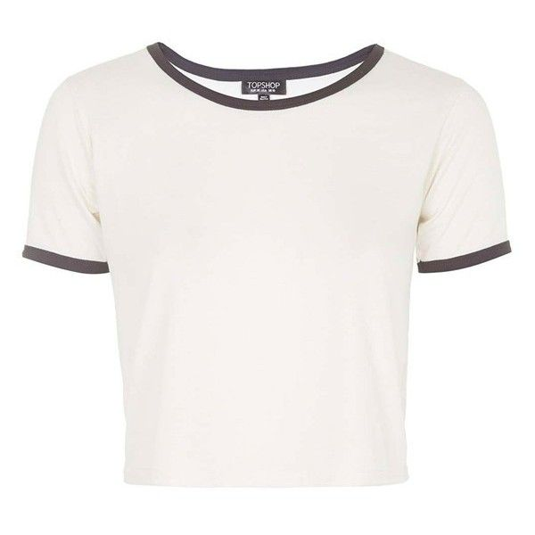Women's Topshop Contrast Tee (445 CZK) ❤ liked on Polyvore featuring tops, t-shirts, shirts, crop tops, white crop top, crop top, white tee, crop t shirt and white shirt