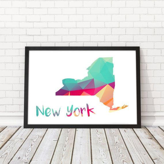 New York State map New York State abstract map by BatLabPrintables
