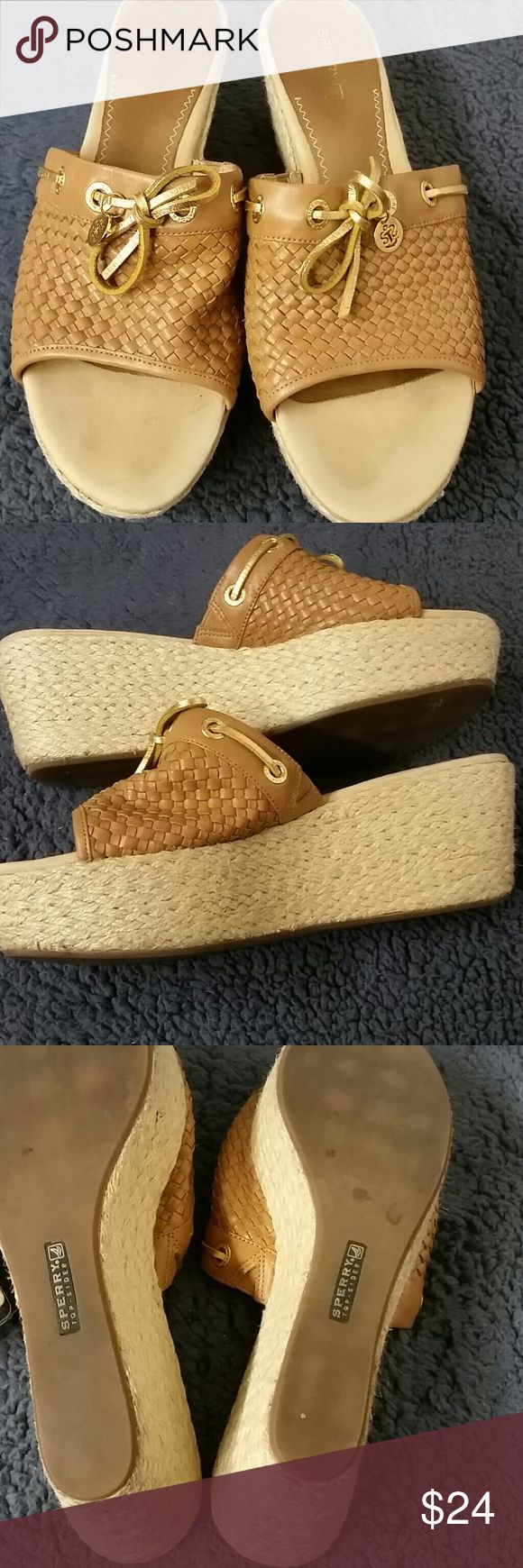 Sperry shoes size 10M Cute Sperry slip-on shoes with a 3-inch heel upper leather size 10M Sperry Shoes