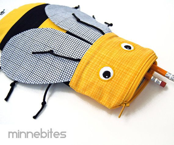 Honey Bee Pencil Case by MinneBites / Handmade Valentines Kids Bag - Cute Animal Pencil Bag - Bee Party Bag - Sunglass Case - Ready to Ship