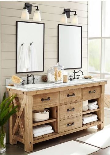 Beautiful rustic farmhouse wood bathroom vanity - love the shiplap and mirrors too! (affiliate)