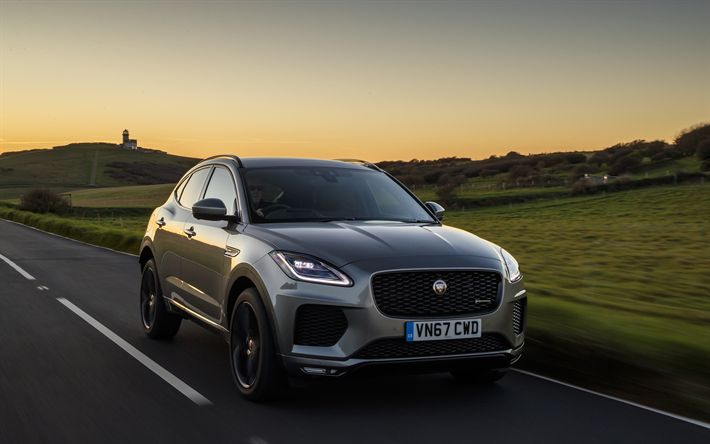 Download wallpapers Jaguar E-PACE R-Dynamic, 4k, 2017 cars, crossovers, new E-PACE, Jaguar