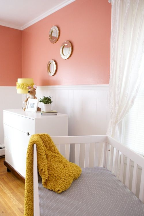 Coral & Mustard Yellow Baby Girl Nursery Design http://www.the-lefebvres.com