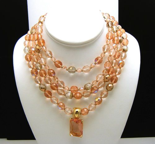 Fabulous-Joan-Rivers-Necklace-Set-Peach-Pink-2-Single-Strands-Crystals-Enhancer