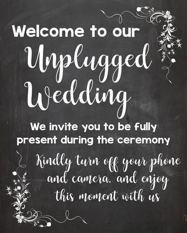 Unplugged Wedding sign chalkboard PRINTABLE digital instant download unplugged ceremony no cell phones announcement poster