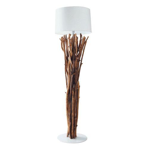Lampadaire Bois Maison Du Monde : Lampadaire en bois flott? et tissu H 160 cm TOUNDRA Maisons du