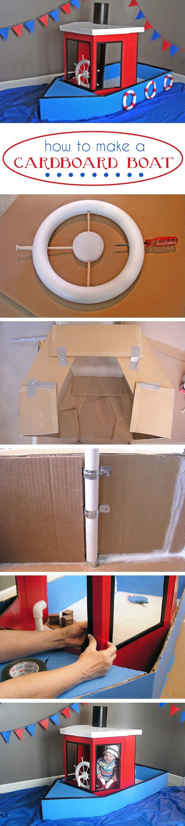The coolest thing to happen since forts! Set your kids imagination free out on the open sea, a.k.a your living room with this DIY cardboard boat. It's cheap to make but still durable. We love this project so much! http://www.ehow.com/how_4844388_cardboard-boat.html?utm_source=pinterest.com&utm_medium=referral&utm_content=inline&utm_campaign=fanpage