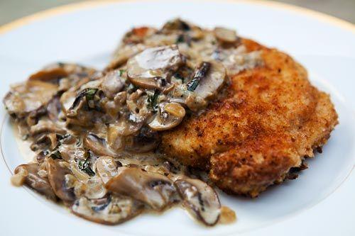 Breaded pork chops recipe, served with a mushroom bourbon cream sauce ...