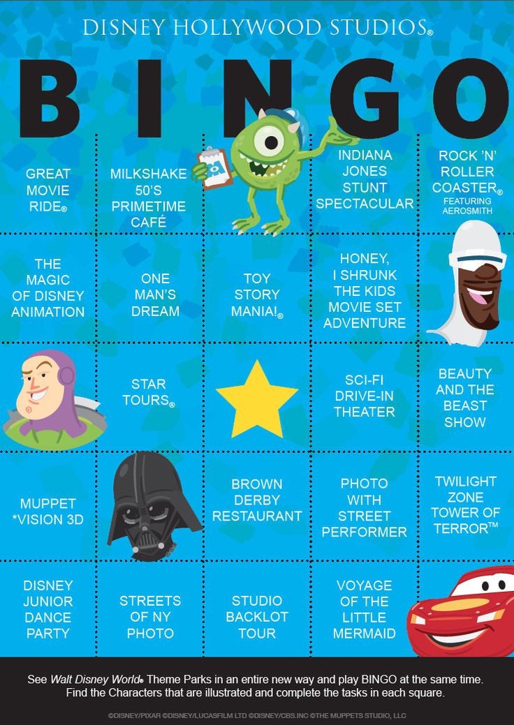 It's time to add to the Walt Disney World Bingo Challenge.  Print the card before you head to Hollywood Studios and see if you can get a blackout!