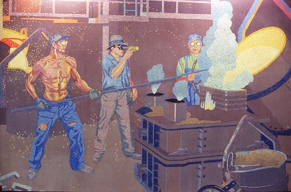 Murals at the airport, formerly at Union Terminal, depict Cincinnatians at work.