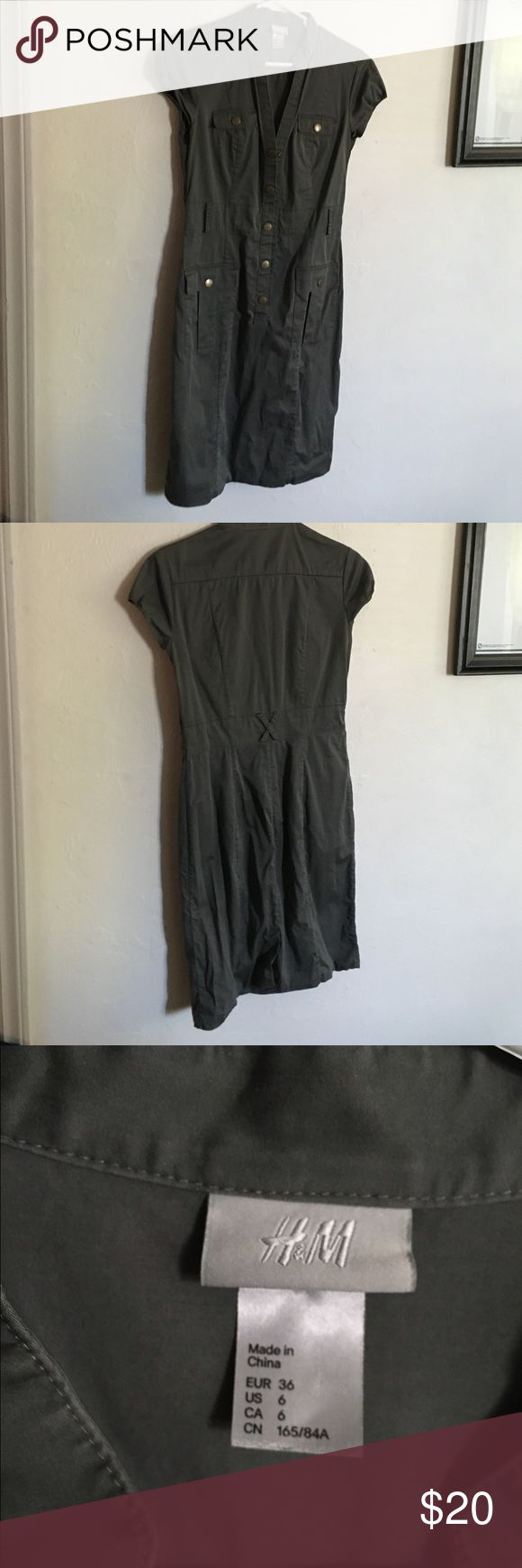 H&M military dress Army green military dress. Form fitting. Stretchy fabric. Do not have the belt. Great condition. H&M Dresses