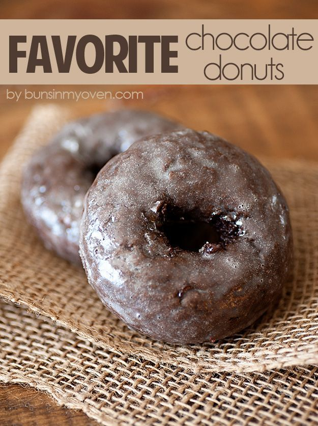 Glazed Chocolate Cake Donuts - my favorite recipe! Just as fluffy and moist as a chocolate cake. from bunsinmyoven.com