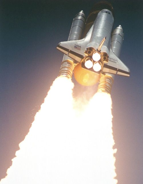 The Space Shuttle Atlantis roars into space on August 2, 1991.