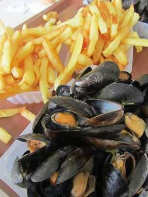 """""""moules-frites"""" or Mussels and Fries, a classic sea-side dish all around France (and Belgium of course!)"""