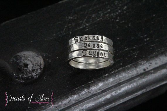 Hammered Fine Silver Hand Stamped Stackable Rings- Mommy Ring- Stackable Rings- Personalized Rings