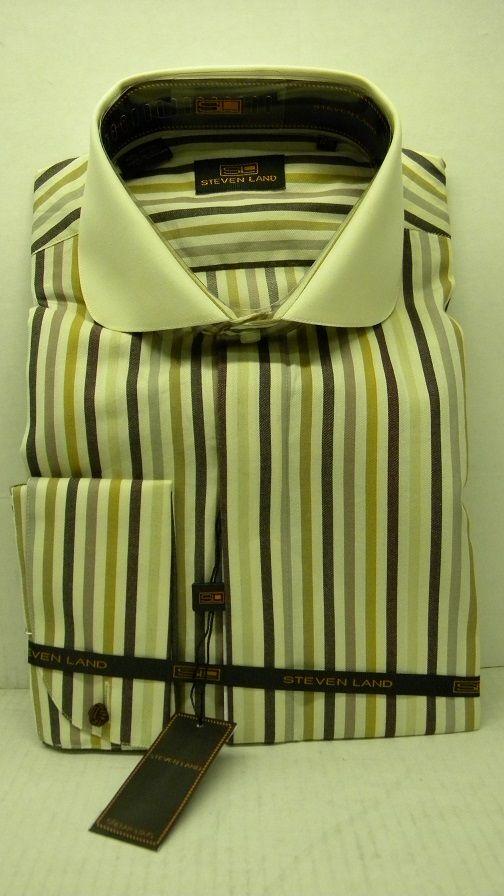 Steven Land Shirts Mens Ivory Multi Stripe 100% Cotton Shirt DS1085
