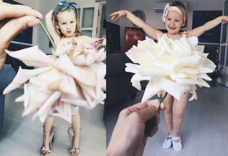 Kreatif, Seorang Ibu Gunakan Makanan dan Bunga untuk Gaun Anaknya