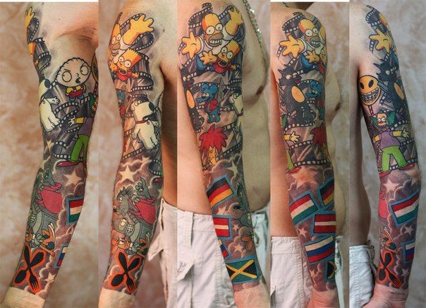 very colorful arm from tattooartist Mihai