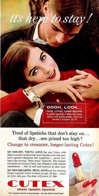 Cutex Lipstick ad, December 1957.