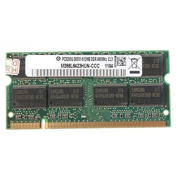 Description: 512MB DDR-400 PC3200 Laptop Notebook (SODIMM) Memory RAM KIT 200-pin 512MB, DDR1, 400MHz, PC3200, Non-ECC, Unbuffered, CL2.5, 200-pin, Laptop RAM (SODIMM), 2.5V RAM features: Unbuffered Technology: DDR SDRAM Form factor: SODIMM 200-pin Memory speed [MHz]: 400 MHz Capacity:...