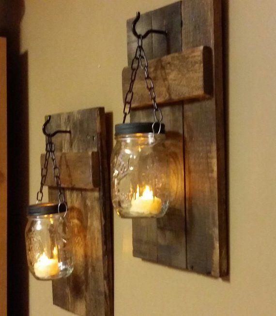 Kaminapplikationen, Rustikale Kerzen, Rustikal, Wohnen und Leben, Einmachglasdekoration, Baue…