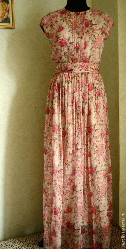 """Шифоновое платье в пол""""Пионы"""" - коралловый,цветочный,платье в пол,шифоновое платье в пол"""