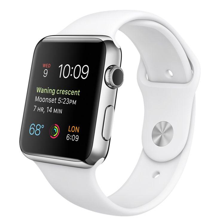 Apple Watch - 42 mm Edelstahlgehäuse mit Sportarmband, Weiß - Apple (DE)
