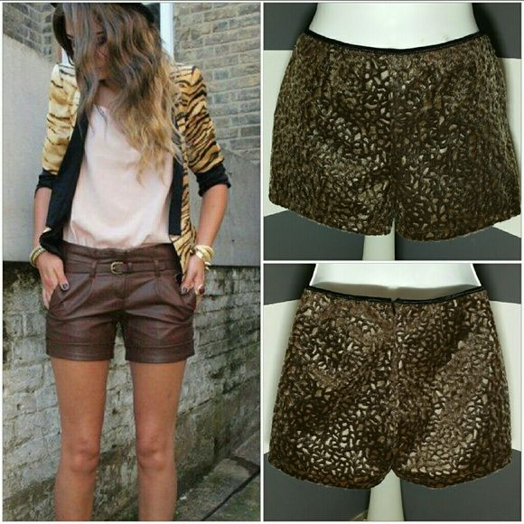 """Wild Side faux leather & fur Shorts NWOT Brand new, no tags Bring out your wild side in these animal print shorts. Brown faux leather with faux fur animal print all over. Pair with a white shirt, statement necklace & heels or rock these shorts with a tshirt, blazer & booties!     Zips up in back Approximately 10.5"""" long Waist side to side approx 15.5"""" Material92% nylon 8%spandex Material texture is faux leather with faux fur animal print. Light weight material   (Model pic is to show a style…"""