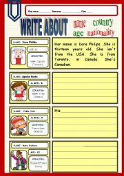 English worksheet: Write about name,age, country and ...