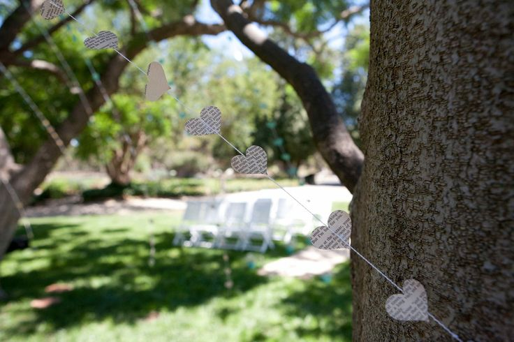 Paper heart garland, wedding decoration, book page hearts, gone with the wind