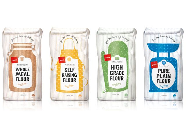 Pams Flour Packaging – Design by Brother Design, Illustration by Angela Keoghan.  http://thepicturegarden.co.nz/pams-flour-packaging-illustration/