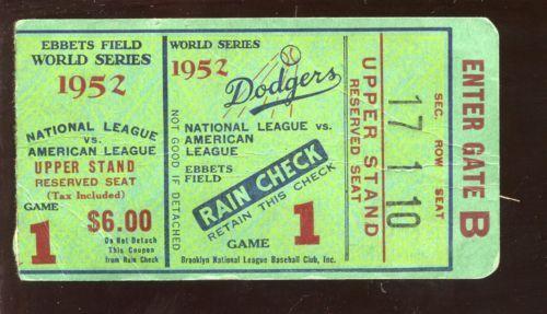 1952-World-Series-Ticket-Stub-New-York-Yankees-at-Brooklyn-Dodgers-Game-1