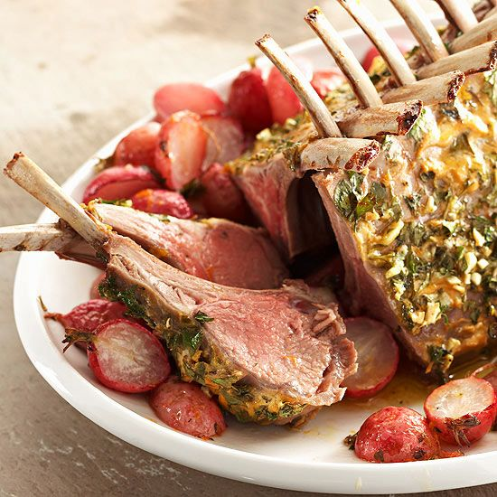 Easter Menu  Herb-Crusted Rack of Lamb with Roasted Radishes and Orange Vinaigrette
