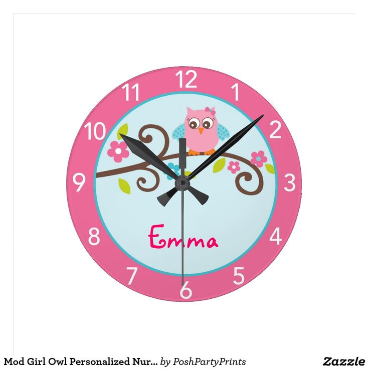 Mod Girl Owl Personalised Nursery Wall Clock