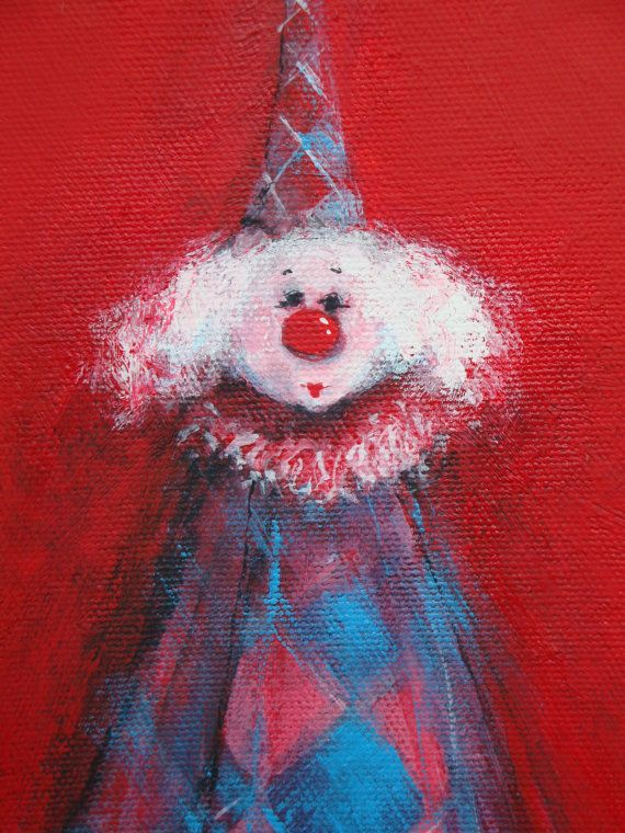 Original Whimsical Clown Painting Acrylic on Stretched Canvas