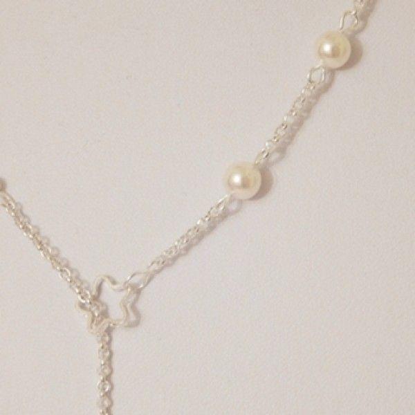 Colier din perle swarovski si elemente placate cu argint.