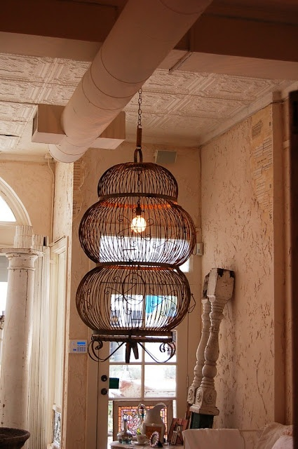 Posh On Palm, an old Bird Cage Mark made into a Chandelier