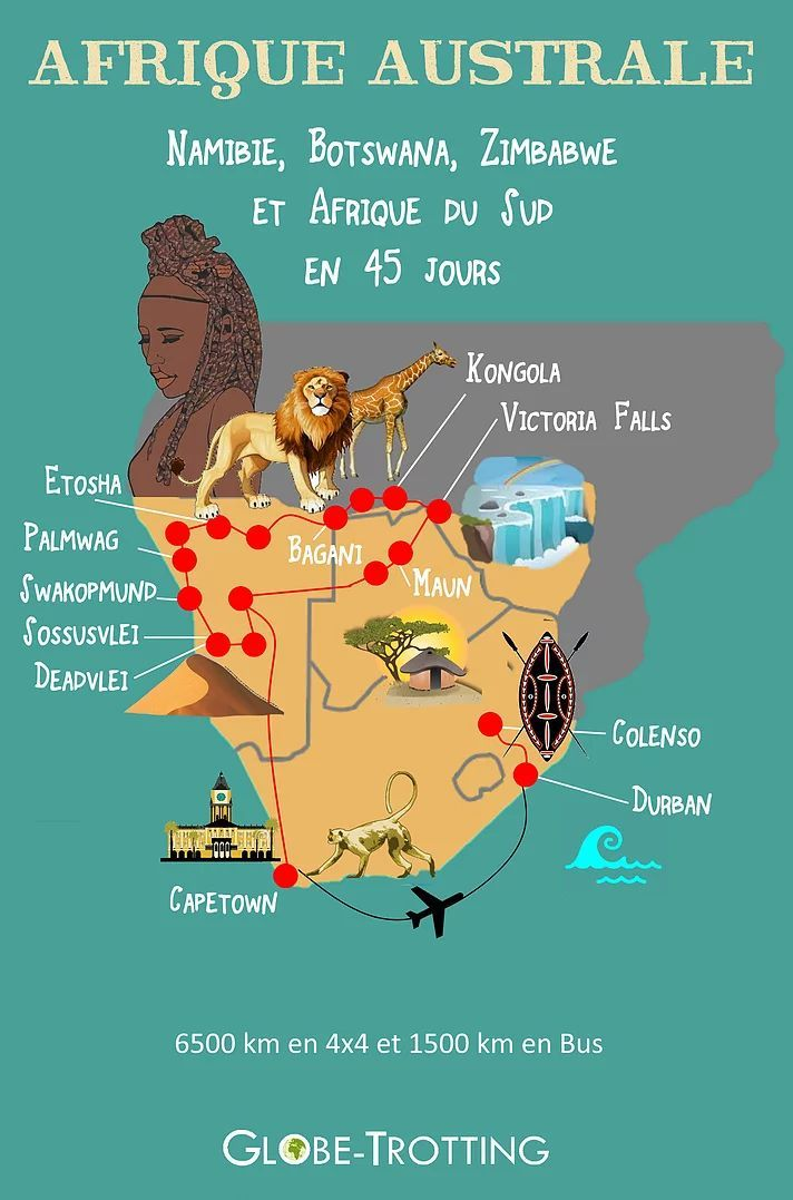 Mon itinéraire de voyage en Afrique Australe NAMIBIE BOTSWANA AFRIQUE DU SUD en 45 Jours http://www.globe-trotting.com/itineraire-afrique-australe AFRICA MAP