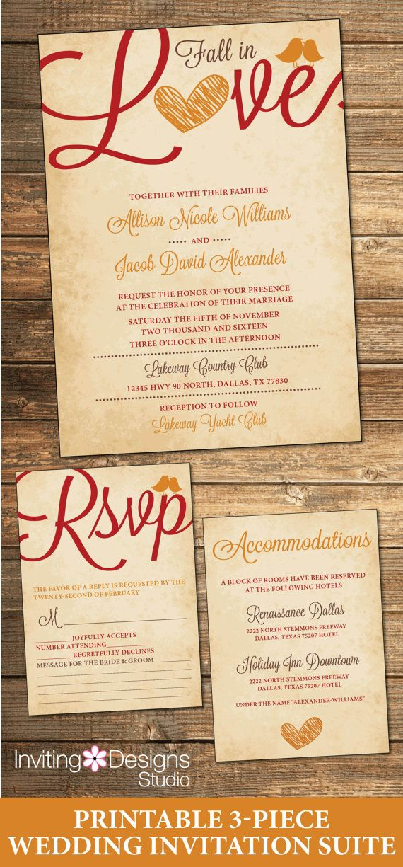Fall Wedding Invitation/Autumn Wedding Invitations. Available at Boardman Printing