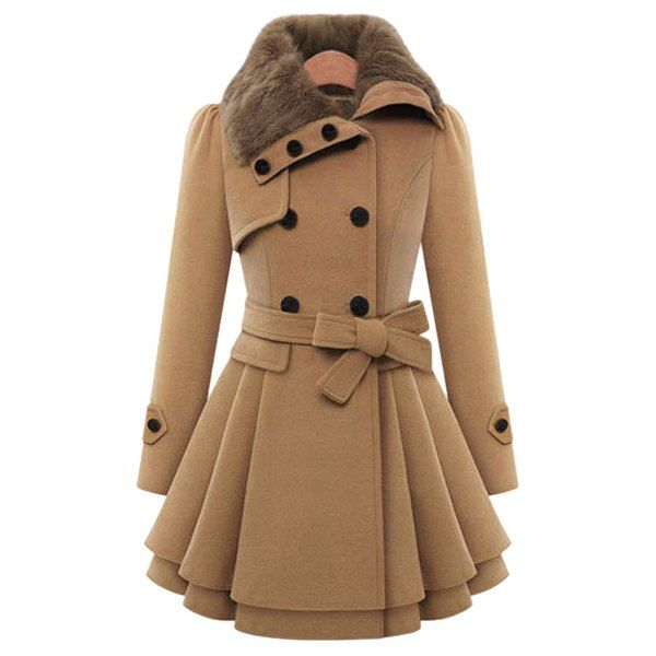 Stylish Turn-Down Neck Long Sleeve Spliced Button Design Lace-Up Women's Coat