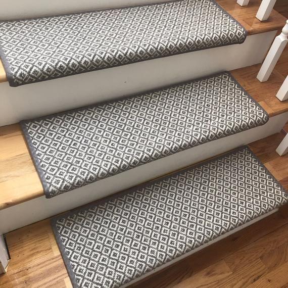 Padded Breckenridge Medium Grey Flat Woven 100 Wool True Bullnose | Plush Carpet Stair Treads | True Bullnose Carpet | Super Soft | Anti Slip | Wool Carpet | Wall Carpet