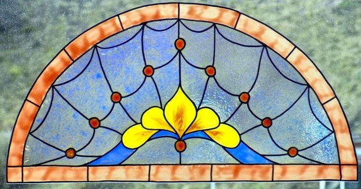 WICOART WINDOW COLOR STICKER CLING FAUX STAINED GLASS DEMI CERCLE 28X14 ART2DECO