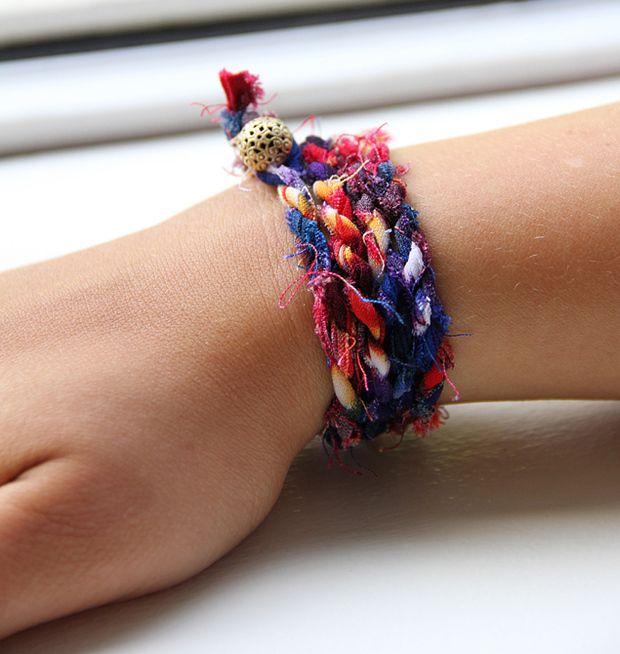 DIY: How to Make J.Crew's $22 Cloth Wrap Bracelet For Under $2 | Guides | Washingtonian: Wraps Bracelets, J Crew, Cutest Arm, Diy Bracelets, Clothing Wraps, Jcrew, Fabrics Bracelets, Friendship Bracelets, Arm Parties