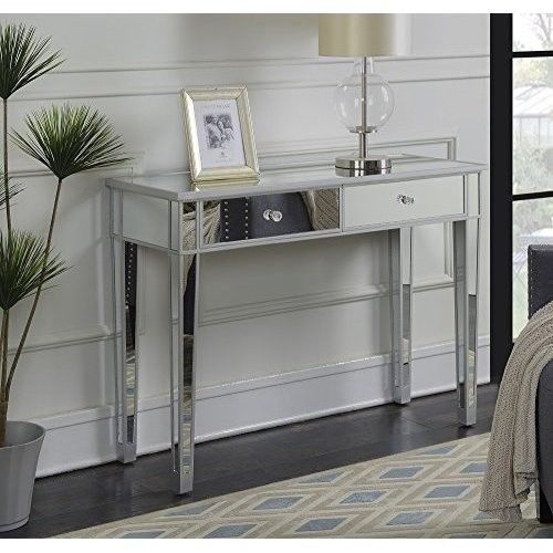 Mirrored Writing Home Office Desk 2 Drawers Vanity Table Console Decor Mirrors
