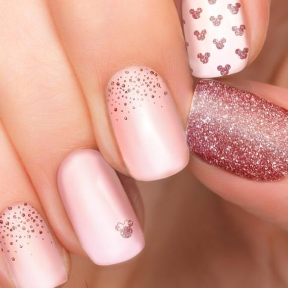 Rose Gold Glitter Minnie And Mickey Mouse Nail Polish Stickers Etsy In 2020 Rose Gold Nails Glitter Disney Nail Designs Mickey Nails