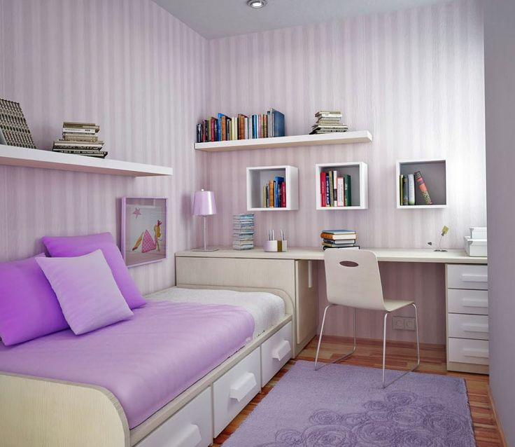 [Bedroom] : Sweet Design Idea Bedroom For Kids With Small Space In Purple Themed With Modern Single Bed With Drawer Study Desk Plus Chair And Table Lamp Float Bookshelves Sweet Purple Rug Laminate Flooring Wall Paper