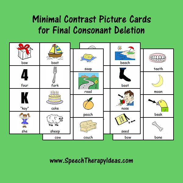 Minimal Contrast Picture Cards for Final Consonant Deletion